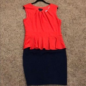 Dresses & Skirts - Coral and navy business dress